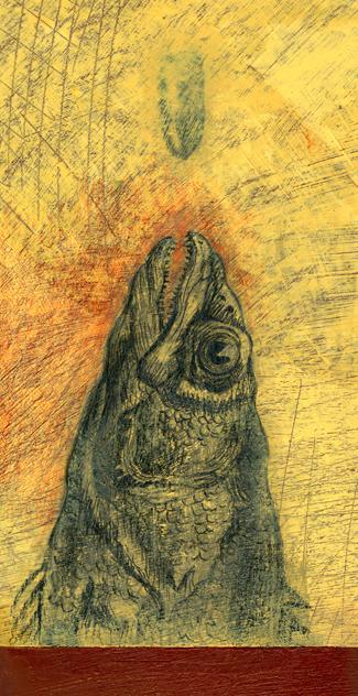 Monolithic Fish. Oil and colored pencil on Masonite board. 4.5 inch. x 11.5 inch. 2011.