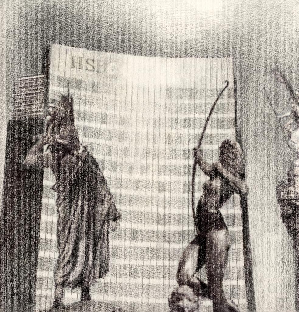 Reforma contra el monolito del crimen legalizado. Caran d'Ache black color pencil on watercolor paper, 2013.